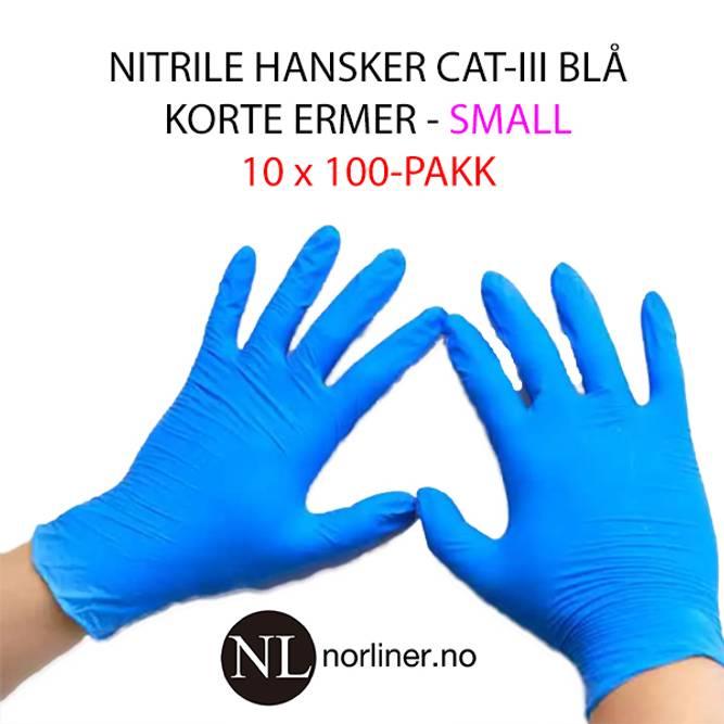 Bilde av LM-HANSKE NITRIL Kort Blå - Small - 1000 stk 16%